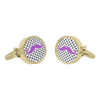紫色のグリッターの髭の水玉模様 ゴールド カフスボタン