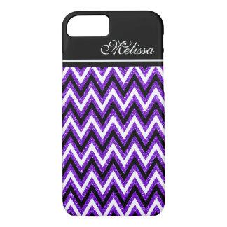 紫色のグリッターの魅力的な白黒のシェブロンのストライプ iPhone 8/7ケース