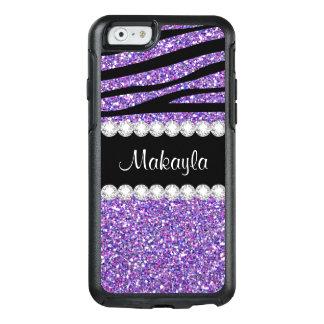 紫色のグリッターの黒のシマウマのオッターボックスのiPhone6ケース オッターボックスiPhone 6/6sケース