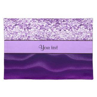 紫色のグリッター及び波状の砂 ランチョンマット