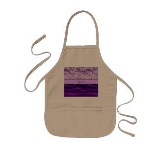 紫色のグリッター及び波状の砂 子供用エプロン