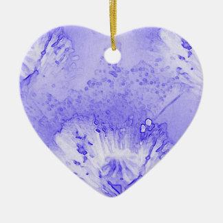 紫色のケシの抽象芸術 陶器製ハート型オーナメント