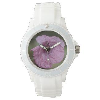 紫色のケシの腕時計 腕時計