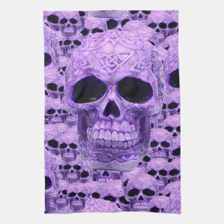 紫色のケルト族のゴシック様式スカル キッチンタオル