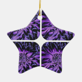 紫色のコラージュのダリアの花模様 セラミックオーナメント