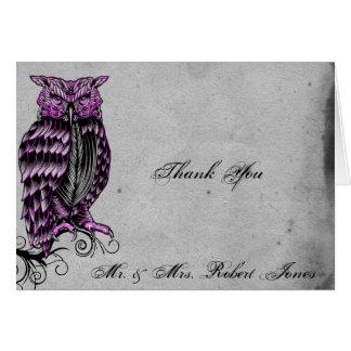紫色のゴシック様式フクロウの優雅な結婚式は感謝していしています カード