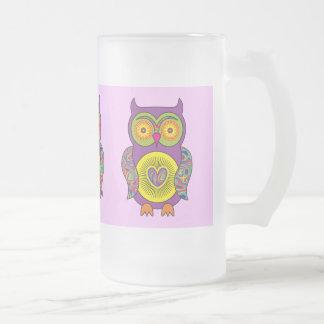 紫色のサイケデリックなフクロウガラス フロストグラスビールジョッキ