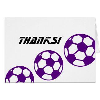 紫色のサッカーボールの感謝 ノートカード