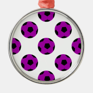 紫色のサッカーボールパターン メタルオーナメント