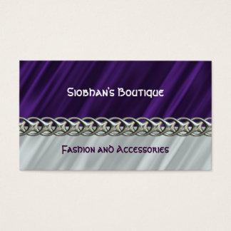 紫色のサテンの銀の鎖の名刺 名刺