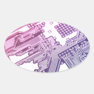 紫色のサーキットボード 楕円形シール