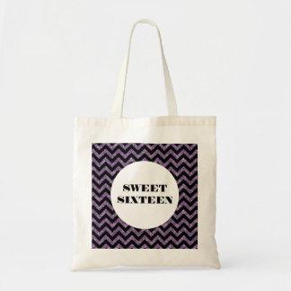 紫色のシェブロンのグリッターの菓子16のトートバック トートバッグ