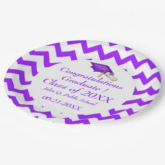 紫色のシェブロンの卒業の紙のパーティのプレート ペーパープレート