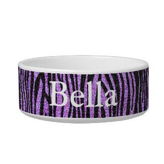 紫色のシマウマのストライブ柄パターン(きらきら光るな模造のなグリッター) ボウル