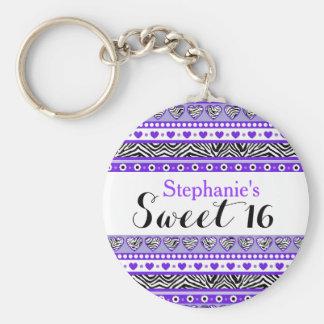 紫色のシマウマのハートの菓子16 Keychain キーホルダー