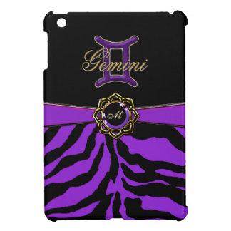 紫色のシマウマのモノグラムの(占星術の)十二宮図の印のジェミニ箱 iPad MINI カバー
