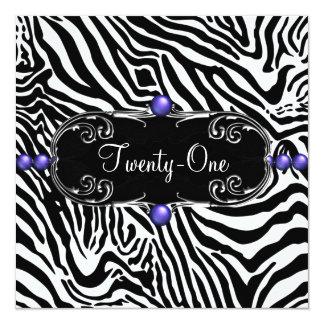 紫色のシマウマの女性の第21誕生会 カード