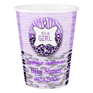 紫色のシマウマ、ヒョウの女の子のベビーシャワーの紙コップ 紙コップ