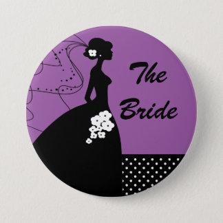 紫色のシルエットの花嫁のブライダルパーティボタン 7.6CM 丸型バッジ