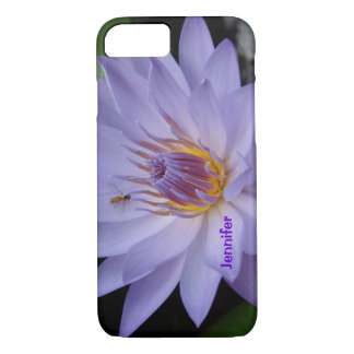 紫色のスイレンのiphoneの箱の名前入りな文字 iPhone 8/7ケース