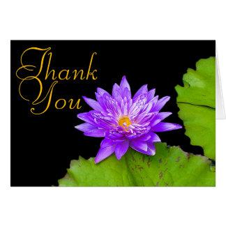 紫色のスイレン色のシックでモダンな花柄は感謝していしています ノートカード