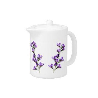 紫色のスイートピーの花のカスタマイズ可能なティーポット