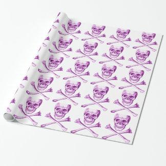 紫色のスカルおよび十字の骨 ラッピングペーパー
