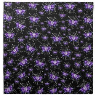 紫色のスカルのくもの巣 ナプキンクロス