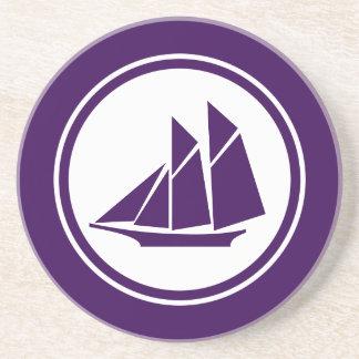 紫色のスクーナー船のヨットの航海のなコースター コースター