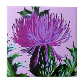 紫色のスコットランドの庭のアザミ タイル