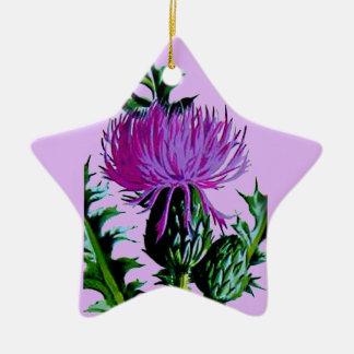 紫色のスコットランドの庭のアザミ 陶器製星型オーナメント