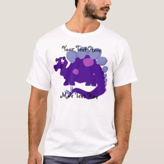 紫色のステゴサウルスのワイシャツ Tシャツ