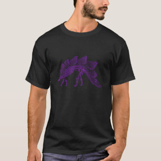 紫色のステゴサウルスの恐竜の骨組 Tシャツ