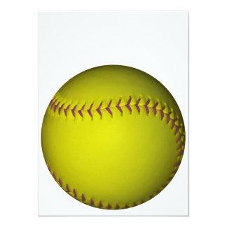 紫色のステッチとの黄色いソフトボール 14 X 19.1 インビテーションカード
