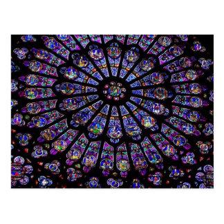 紫色のステンドグラス教会窓 ポストカード