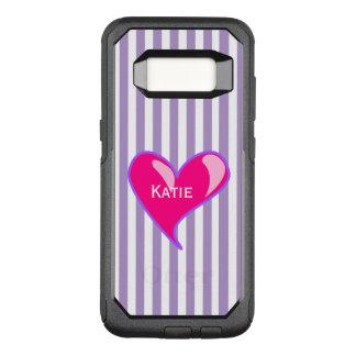 紫色のストライプおよびハートのSamsungピンクのS8の例 オッターボックスコミューターSamsung Galaxy S8 ケース