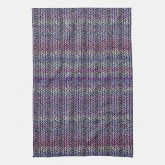 紫色のストライプのなRibknit キッチンタオル