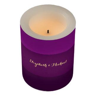 紫色のストライプのカップルの結婚記念日の蝋燭 LEDキャンドル