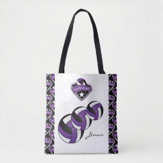 紫色のスポーツのバレーボールの星| DIYの文字 トートバッグ