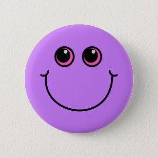 紫色のスマイリーフェイス 缶バッジ