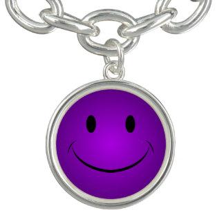 紫色のスマイリー チャームブレス