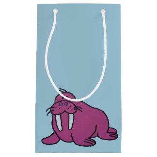 紫色のセイウチの漫画のスケッチ スモールペーパーバッグ