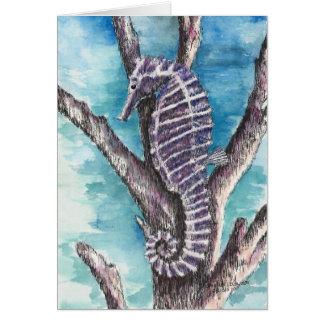 紫色のタツノオトシゴのブランク カード