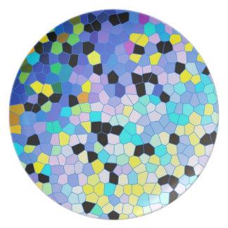 紫色のタマキビの青及び黒いモザイク模様 プレート