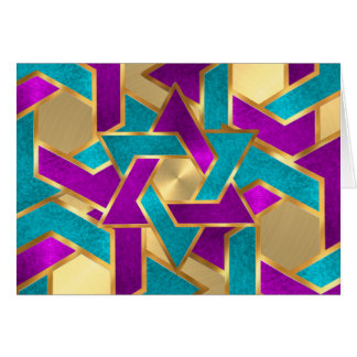 紫色のターコイズの星のデイヴィッドの金ゴールドのサンキューカード カード