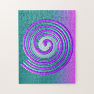 紫色のターコイズの螺線形のジグソーパズル ジグゾーパズル