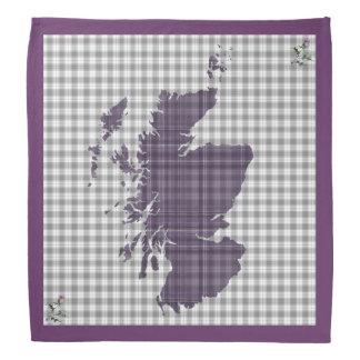 紫色のタータンチェックのアザミのスコットランドの地図のバンダナ バンダナ