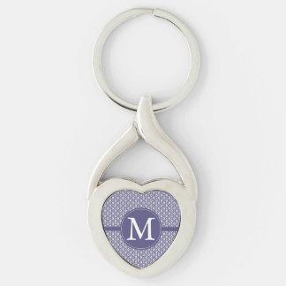 紫色のダイヤモンドパターンモノグラム キーホルダー