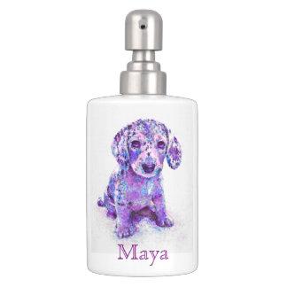 紫色のダックスフントの子犬の浴室セット ソープディスペンサー