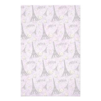 紫色のダマスク織のエッフェル塔 便箋